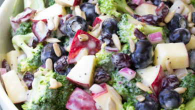 Photo of 🍎No Mayo Delicious Broccoli, Apple & Blueberry Salad😋